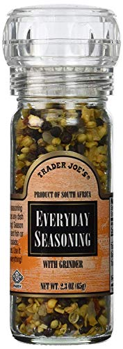 Trader Joe's Everyday Seasoning with Built in Grinder Use on Everything Everyday Sea Salt,mustard Seeds, Black Peppercorns,coriander,onion,garlic,paprika & Chili Pepper 2.3oz - PACK OF 2