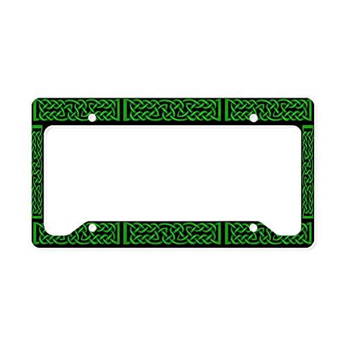CafePress Celtic Knot Green Aluminum License Plate Frame, License Tag Holder