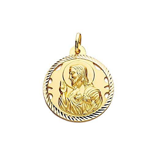 Medalla Oro 18K Escapulario 28mm Virgen Carmen Corazón Jesús [Aa2479]
