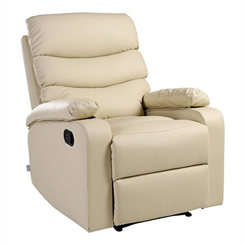 More4Homes ASHBY LEATHER RECLINER ARMCHAIR SOFA CHAIR RECLINING HOME LOUNGE (Cream)