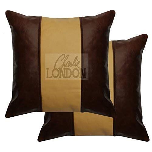 Charlie LONDON 2x Ocre Marron et marron vintage à rayures en cuir d'origine Housses de coussin