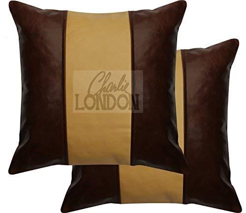 Charlie LONDON 2 fundas de cojín de piel con diseño de rayas, color marrón ocre y marrón