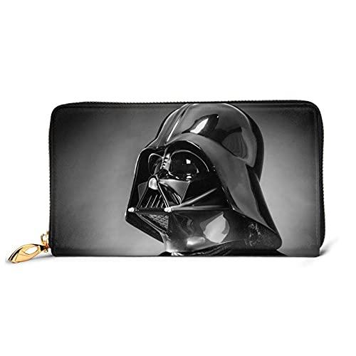 Star Mandalorian Wars Darth Vader Leder Geldbörse Reißverschluss Wasserdicht für Damen und Herren Multifunktionale Passport Clutch Tasche RFID