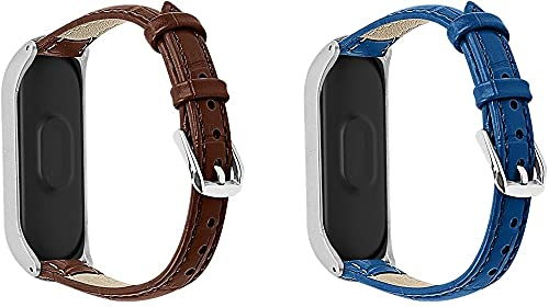 Gransho Piel Correa de Reloj Compatible con Xiaomi Mi Band 3 / Mi Band 4 / Mi Smart Band 4 / Mi Fit Band 4, Correa/Banda/Pulsera/Recambio/Reemplazo/Strap de Reloj (Pattern 2+Pattern 3)