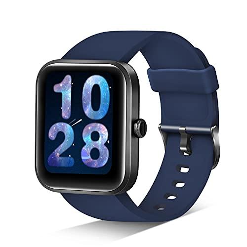 JIKKO Smartwatch, ID206 Touchscreen Armbanduhr, 1.69 Zoll Fitness Tracker Sportuhr mit Schrittzähler, Pulsuhr&Blutsauerstoffsättigung, mit Alexa 5ATM wasserdichte Smart Watch für Android iOS (Blau)