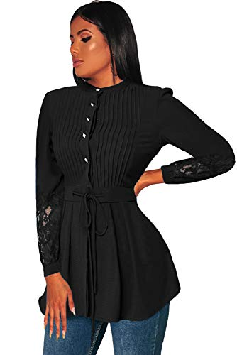 Houjibofa Damen Crinkle Chest Lace Panel Schößchenbluse Black XL