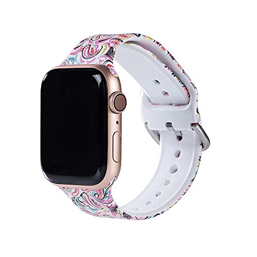 Hspcam Correa para Apple Watch Band SE 6 5 40mm 44mm 38mm 42mm Correa de silicona impresa para iwatch Series 6 SE 5 4 3 2 pulsera deportiva (para 42mm o 44mm, 10)