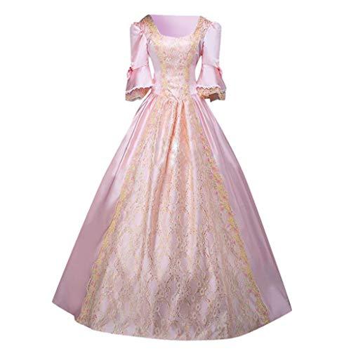 Gothic Kleid Spitze Maxikleid Damen Mittelalter Kleider Korsett Partykleider Erwachsene Cosplay Abendkleid Vintage Königliche Prinzessin Cocktailkleid Schnürung Kleidung (S, Rosa)