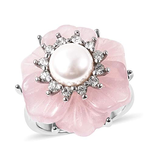 TJC Rose Quartz, White Crystal and White Shell Pearl Floral Ring in Stainless Steel