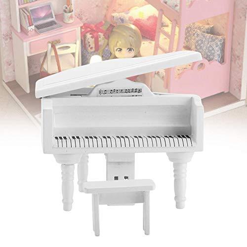 【𝐕𝐞𝐧𝐭𝐚 𝐑𝐞𝐠𝐚𝐥𝐨 𝐏𝐫𝐢𝐦𝐚𝒗𝐞𝐫𝐚】 1:12 Dollhouse Mini Piano Toy, Mini Simulation Piano de Cola de Madera con Taburete para 1:12 Doll House Accesorio(Blanco)