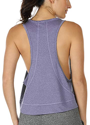icyzone Yoga Tops Activewear Workout Clothes - Sports Racerback Tank Tops for Women (L, Lavender)