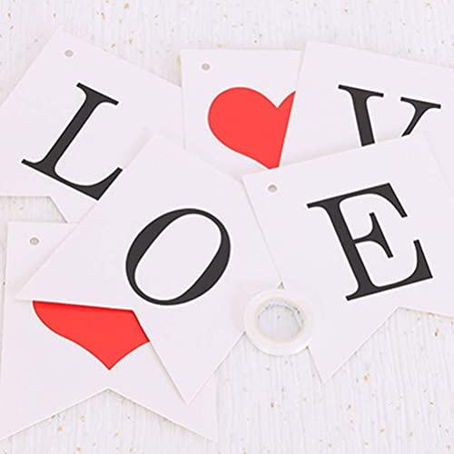 3 piezas de banner colgante de boda con letras, corazón de papel, guirnalda, para aniversario de boda, compromiso, día de San Valentín, decoración colgante (amor + cásate conmigo + te amo)