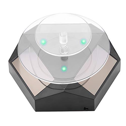 DAUERHAFT Schmuckständer, 360 rotierende Solarstrom-Vitrine LED-Licht-Plattenspieler-Uhr Telefonklingelanzeige, breite Anwendung für Telefone, Uhren und andere Produkte(Schwarz)