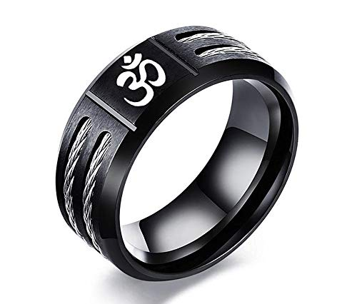 VNOX Black Stainless Steel Wire Inlay Buddhism Ohm OM Aum Sanskrit Symbol Engraved Band Ring Religious Meditation Jewellery for Men Boys,Size N 1/2-X 1/2