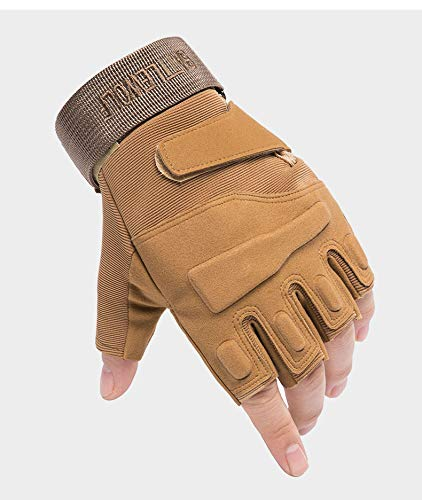 Tbrand DAZZLD Tactical Fingerless Gloves Suitable for Motorcycles, Motorcycles, Cycling, Mountaineering, Hiking Hunting Gloves (,Brown, X-Large)