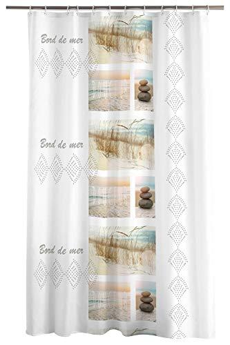 one-home Duschvorhang 180x200cm Strand weiß beige Natur Wasserabweisend Badewannenvorhang