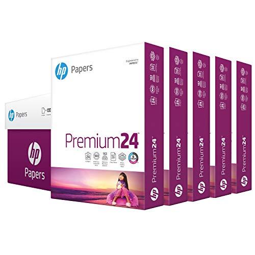 hp Printer Paper   8.5 x 11 Paper   Premium 24 lb   5 Ream Case - 2500 Sheets   100 Bright   Made in USA - FSC Certified   115300C