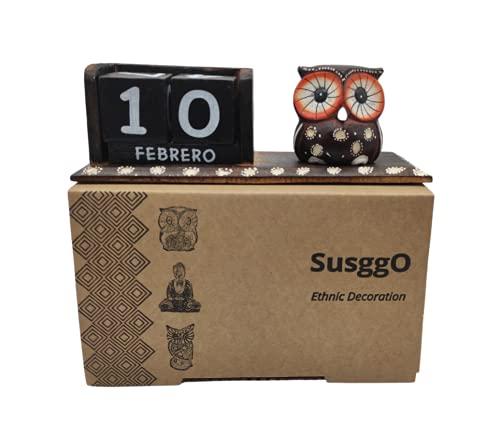 SusggO Calendario Perpetuo de Madera Buho Animales Artesania Decoración para la Mesa, estantería, Escritorio, sobremesa (Buho Marron BM)