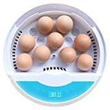 Wowok Digital Automatic Egg Incubator, 9 LED Luminous Egg Candle Tester and Temperature Control Function, One Click Heat Preservation and Water Retention Poultry Hatcher for Chickens Ducks Goose Birds