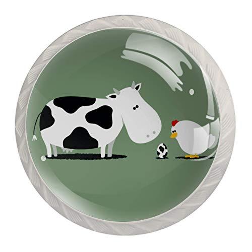Perillas de Gabinete Redondas Gallo de vaca Perillas de Cajón 35mm Tiradores de Muebles con Tornillo Perillas Manijas para Armario Cajón Aparador Cocina 4 Piezas