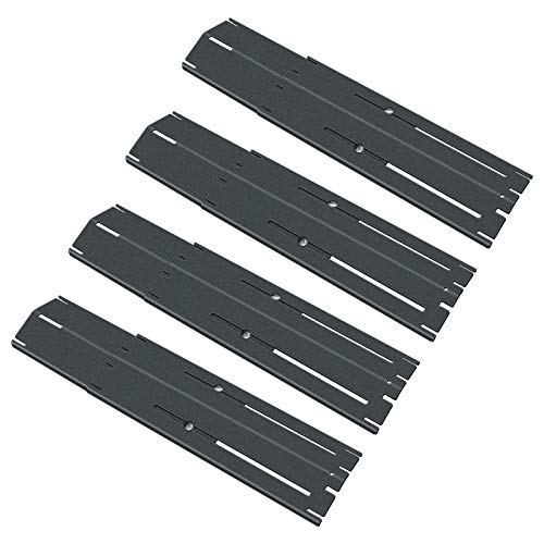 Uniflasy Universal Adjustable Porcelain Steel Heat Plate Shield, Heat Tent, Flavorizer Bar, Burner Cover, Flame Tamer for Brinkmann Charbroil Gas Grill, Extends from 11.75 up to 21 Inches, 4 Pack