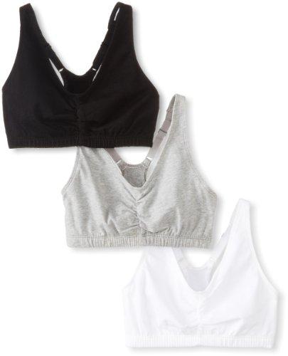 Fruit of the Loom Women's Adjustable Shirred Front Racerback Sports Bra, 3-Pack, White/Heather Grey/Black Hue, 38