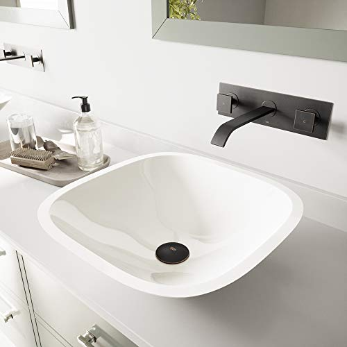 VIGO Square Shaped White Phoenix Stone Vessel Sink and Titus Wall Mount Faucet with Pop Up, Antique Rubbed Bronze