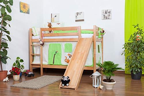 Kinderbett Etagenbett Moritz Buche Vollholz natur massiv mit Rutsche inkl. Rollrost - 90 x 200 cm, teilbar