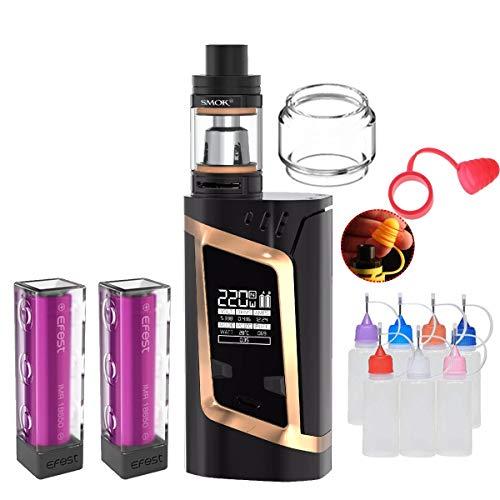 E Zigarette, Original Smok RHA220W(Alien) Kit mit TFV8 Baby Tank, Verdampfer Starter Set und 2 * 3000mAh Wiederaufladbare Efest-Batterien, Ohne E-Liquid, Ohne Nikot (Gold schwarz)