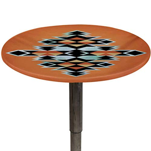 Elastic Edged Table Cover Tribal Polyester Fabric Table Cloth Tribal Aztec Pattern Abstract Design Traditional Elements Print Perfect for Picnic and Camping Table Orange Black Pale Blue Diameter 48'