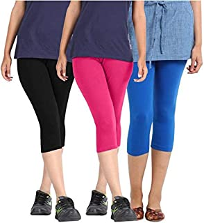 ROOLIUMS Woman Cotton Capri Combo (Brand Factory Outlet) Pack of 3 (Black, Pink and Sky Blue) - Free Size