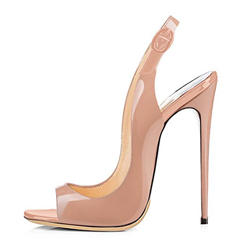 Onlymaker Sandalen High Heels Slingback Stiletto Peep Toe Party Pumps Nude1 EU36