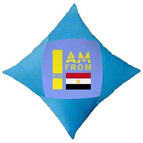 OFFbb-USA I Am from Egypt - Funda de almohada decorativa para cama de coche, color azul