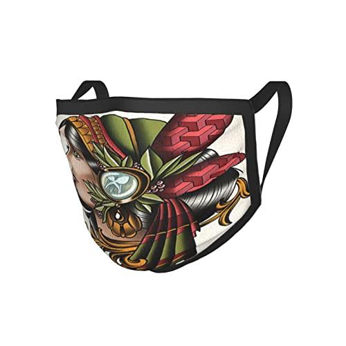 Trippy Art Decor - Juego de cartas para mujer con plumas nativas americanas en la cabeza, diseño bohemio, con borde negro, máscara de tela