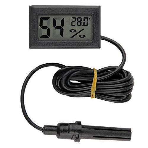 NEWBER Higrómetro Termómetro Digital LCD Sensor de Temperatura Conveniente Interior de Temperatura Calibre Medidor de Humedad Cable de Instrumentos, Negro