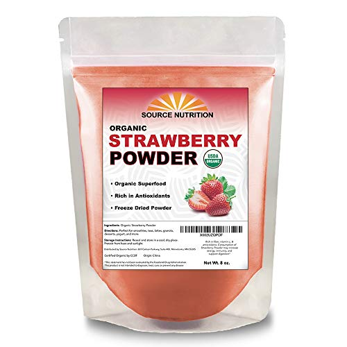 USDA Organic Strawberry Powder, 8 ounce - Freeze Dried, Non GMO, Vegan Superfood - Perfect for Baking, Snacks, and Beverages