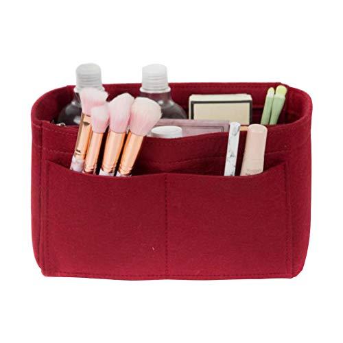 El maquillaje del organizador del bolso de fieltro bolso cosmético Insertar monedero del organizador de viajes Higiene de almacenamiento de vino tinto