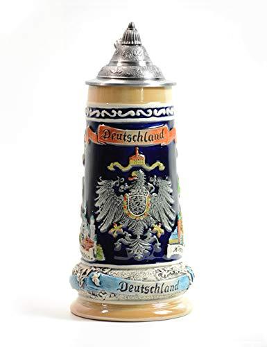 Amoy-Art Bierkrug Bierkrüge Deutschland Bierseidel Steinkrüge mit Deckel German Beer Stein Mug D'landfahne Wappen Seidel Geschenk Giftbox 0.8Litre