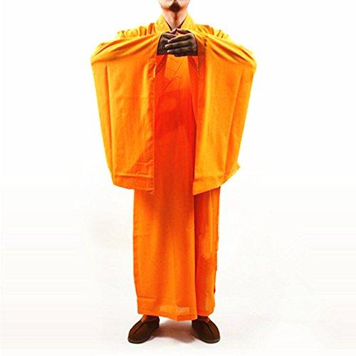 DOREKIN Budista Shaolin Monk Kung fu Robe Meditación Vestido Largo Traje Amarillo XXL