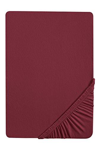 #21 biberna Jersey-Stretch Spannbettlaken, Spannbetttuch, Bettlaken, 90x190 – 100x200 cm, Burgund
