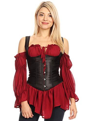 Womens Gothic Steampunk Tesla Steel Boned Underbust Waist Training Corsets Vest, Black, Large
