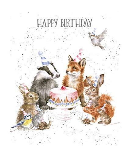 Wrendale Designs Geburtstagskarte (WRE-OC072) – Woodland Party – Tiere um Kuchen – von Wrendale Designs