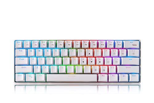 RGB 60prozent kompakte Mechanische Gaming Tastatur, kabelgeb&ene & kabellose Mini Tastatur mit 61 Tasten Blue Switches Tastatur mit 1850 mA wiederaufladbarem Akku für Windows/MacOS/Android-System, weiß