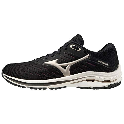 Mizuno Wave Rider 24 (W), Zapatillas de Running Mujer, Blk/PlatinumGold/Fudge, 38 EU