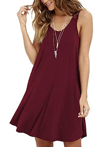 AUSELILY Mujer Vestido Suelto De Camiseta Simple con Swing Casual para (Vino Rojo,Medium)