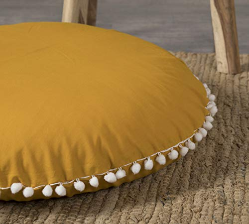 Popular Handicrafts Large Cotton Hippie Floor Pillow Cover - Solid Decorative Cushion Cover with Pom Poms Soft Particles - Pouf Cover Round Bohemian Yoga Decor Floor Cushion Case- 18' Mustard Yellow