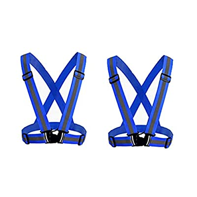 HYCOPROT Reflective Vest 2 Pack Safety Gear with High Visibility Adjustable Straps for Running, Jogging, Cycling, Hiking, Walking, Multicolor Optional (Blue)