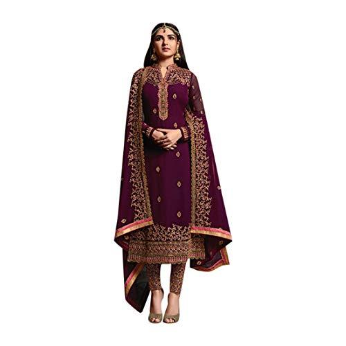 ETHNIC EMPORIUM Purple Bollywood Salwar Braut Hochzeitskleid Anzug Punjabi Damen Girl Indischen muslimischen Frauen Kleid Salwar Suit Straight Suit Plazo 7216