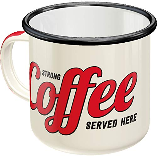 Nostalgic-Art 43203 Strong Coffee Served Here | Retro Vintage Geschenk-Tasse | Outdoor Geschirr Emaille-Becher, Bunt, 8 x 8 x 8 cm