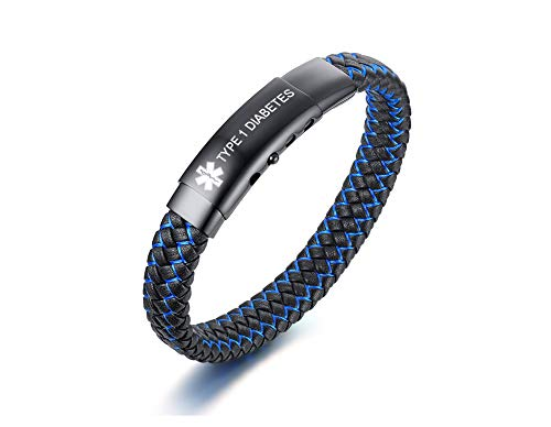 Type 1 Diabetes-Stainless Steel and 2-Tone Braided Leather Medical ID Bracelet Medical Alert Wrist Band for Men Emergancy Identification Medic Jewellery for Men